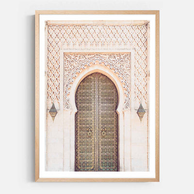 Print Workshop, Framed Print, Moroccan Arch, Natural Australian Oak Box Frame with White Border