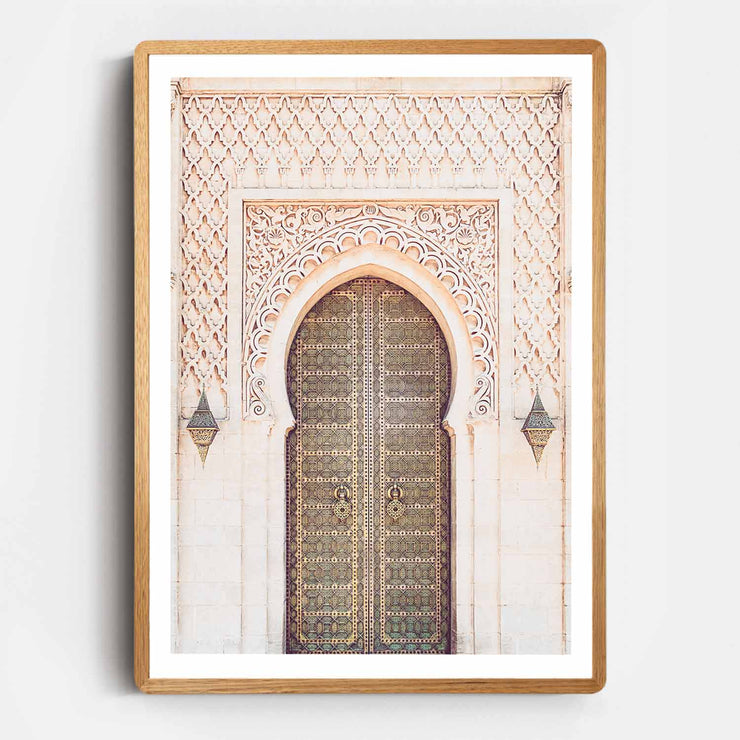 Print Workshop, Framed Print, Moroccan Arch, Rounded Corner Natural Oak Box Frame, Light Oak Stain with White Border
