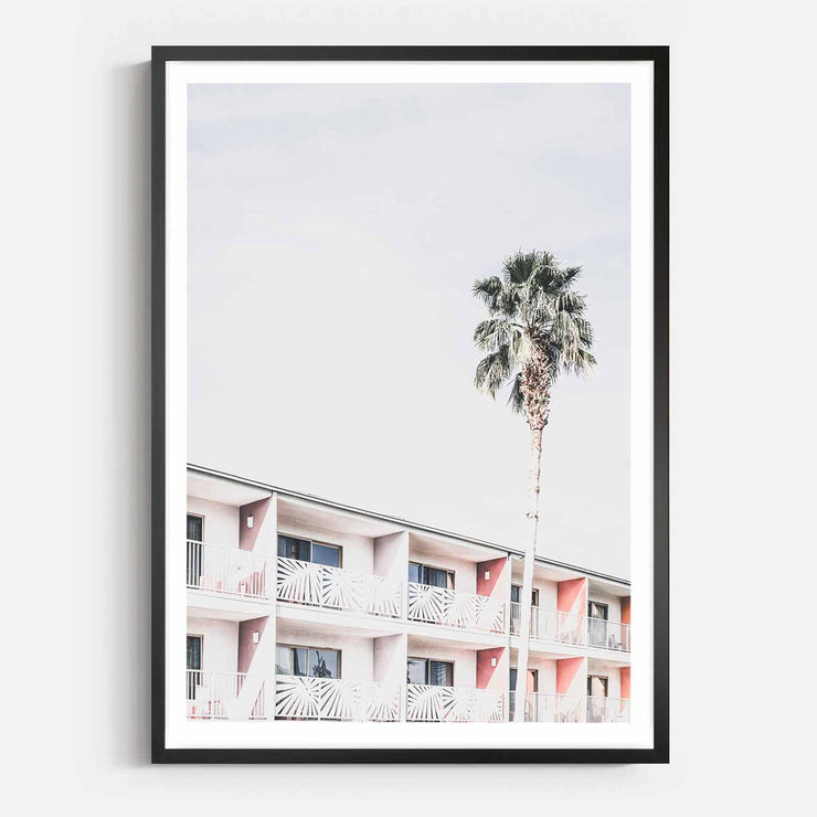 Print Workshop, Framed Print, Palm Hotel, Box Frame, Black Smooth Coating with White Border