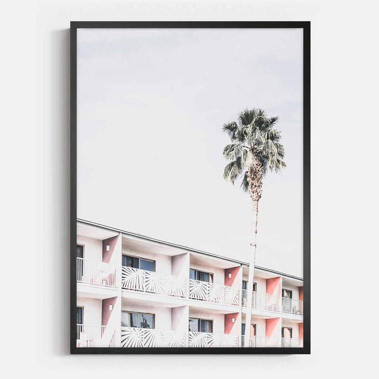 Print Workshop, Framed Print, Palm Hotel, Box Frame, Black Smooth Coating, No White Border