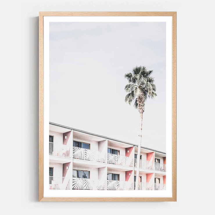 Print Workshop, Framed Print, Palm Hotel, Natural Australian Oak Box Frame with White Border