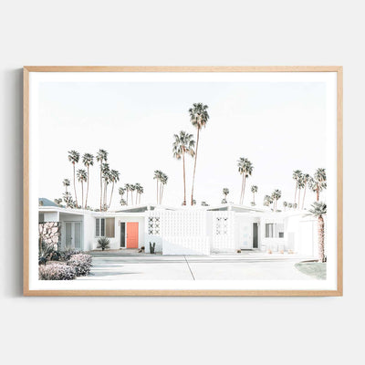 Print Workshop, Framed Print, Palm Springs Drive, Natural Australian Oak Box Frame with White Border