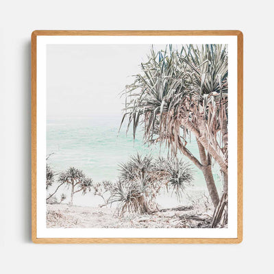 Print Workshop, Framed Print (Square Size), Pandanus, Rounded Corner Natural Oak Box Frame, Light Oak Stain with White Border