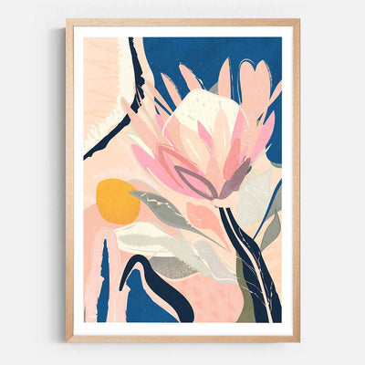 Print Workshop, Framed Print, Protea And The Sun, Natural Australian Oak Box Frame with White Border