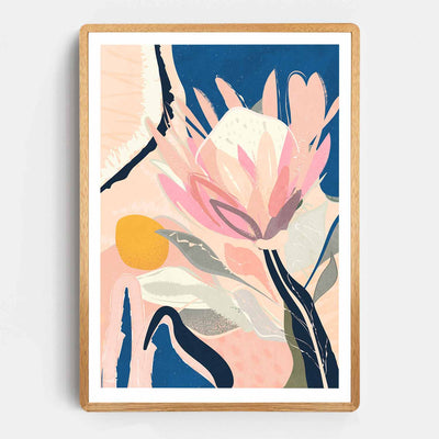 Print Workshop, Framed Print, Protea And The Sun, Rounded Corner Natural Oak Box Frame, Light Oak Stain with White Border