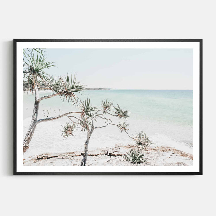 Print Workshop, Framed Print, Summer Beach View, Natural Oak Box Frame, Black Coating with White Border