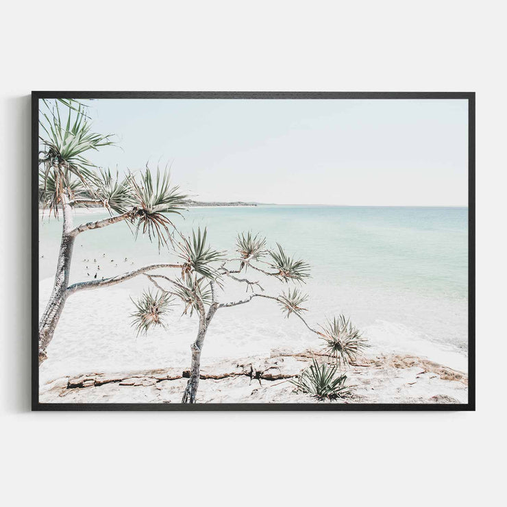Print Workshop, Framed Print, Summer Beach View, Natural Oak Box Frame, Black Coating, No White Border