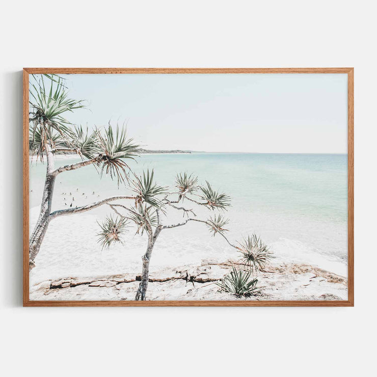Print Workshop, Framed Print, Summer Beach View, Natural Oak Box Frame, Chestnut Stain, No White Border