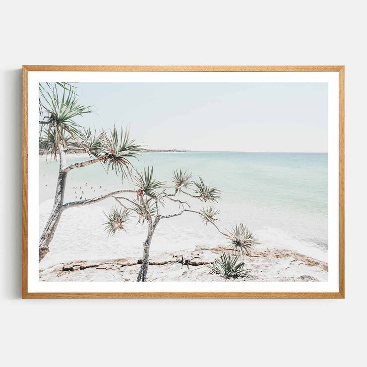 Print Workshop, Framed Print, Summer Beach View, Natural Oak Box Frame, Light Oak Stain with White Border