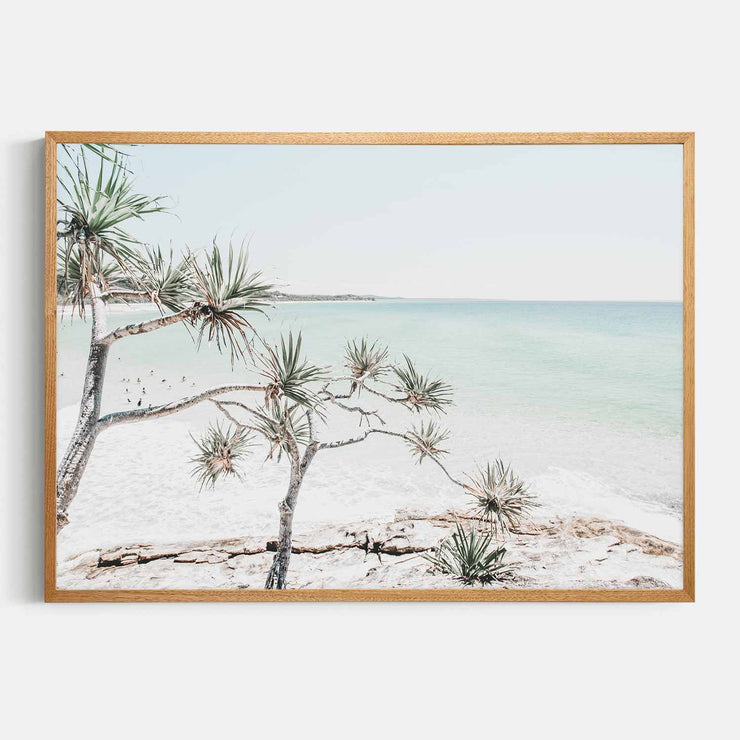 Print Workshop, Framed Print, Summer Beach View, Natural Oak Box Frame, Light Oak Stain, No White Border