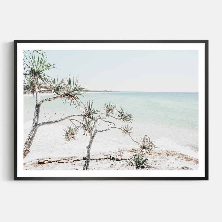 Print Workshop, Framed Print, Summer Beach View, Box Frame, Black Smooth Coating with White Border