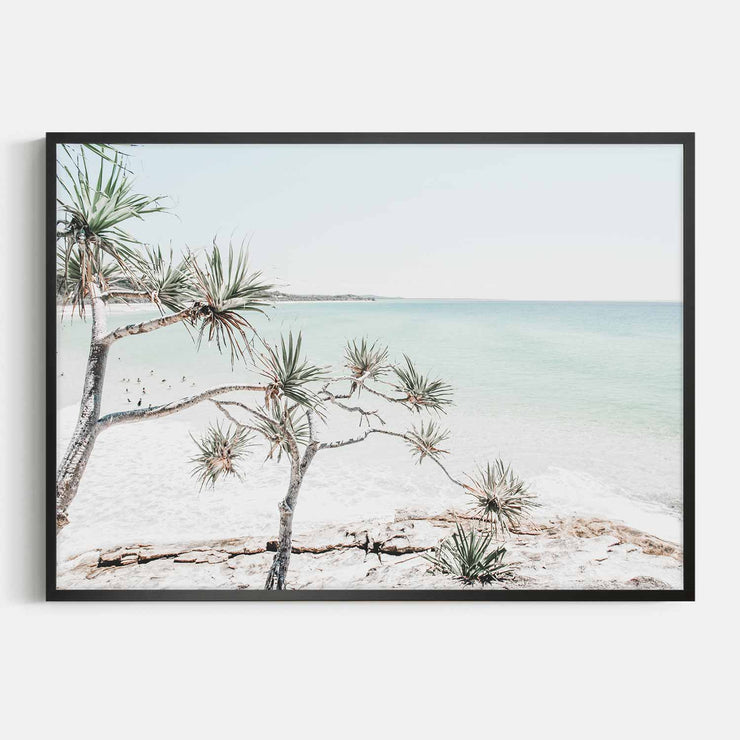 Print Workshop, Framed Print, Summer Beach View, Box Frame, Black Smooth Coating, No White Border