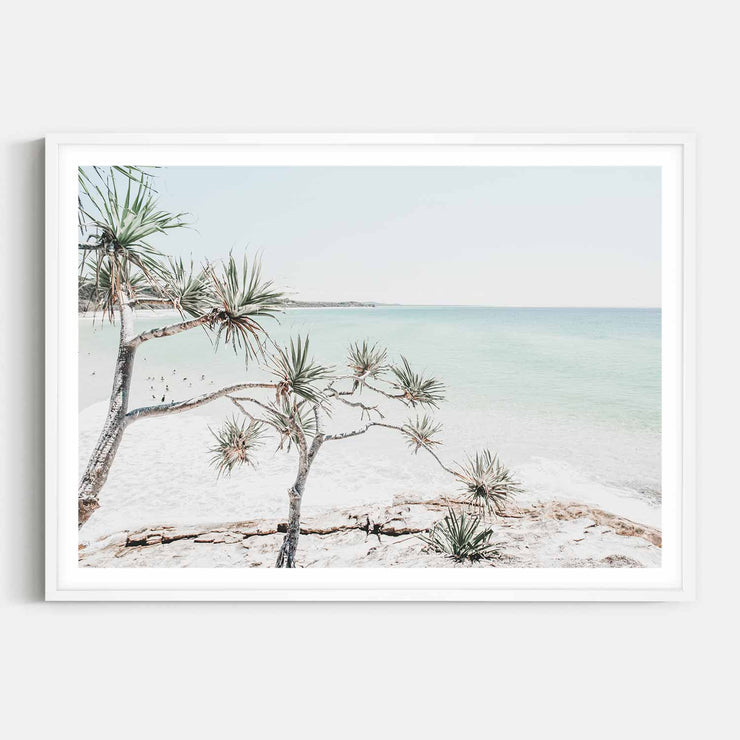 Print Workshop, Framed Print, Summer Beach View, Box Frame, White Smooth Coating with White Border