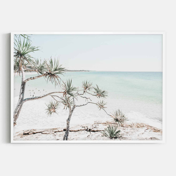 Print Workshop, Framed Print, Summer Beach View, Box Frame, White Smooth Coating, No White Border