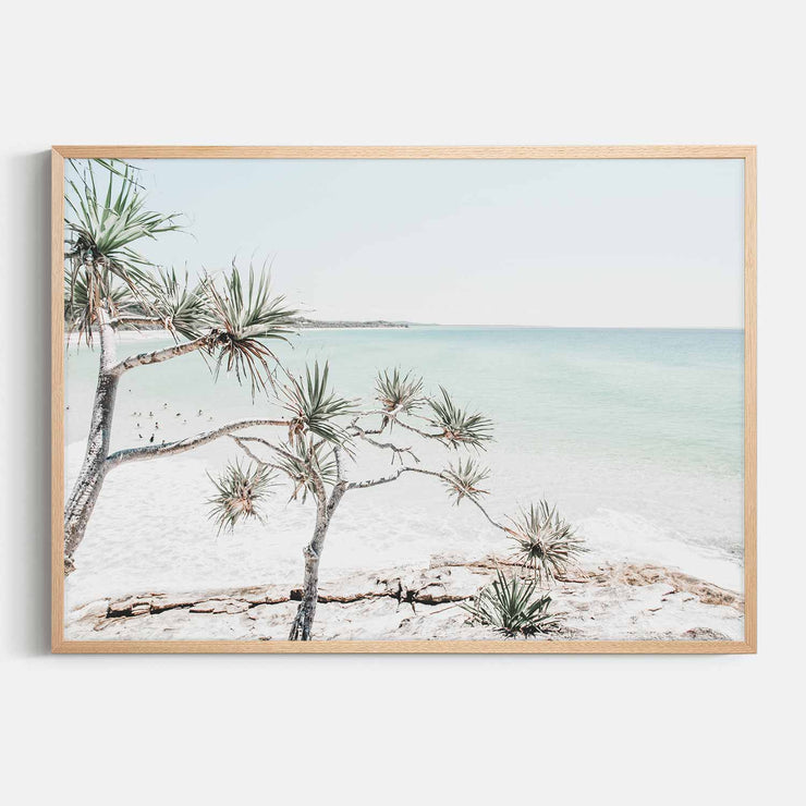 Print Workshop, Framed Print, Summer Beach View, Natural Australian Oak Box Frame, No White Border