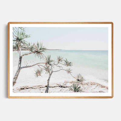 Print Workshop, Framed Print, Summer Beach View, Rounded Corner Natural Oak Box Frame, Light Oak Stain with White Border