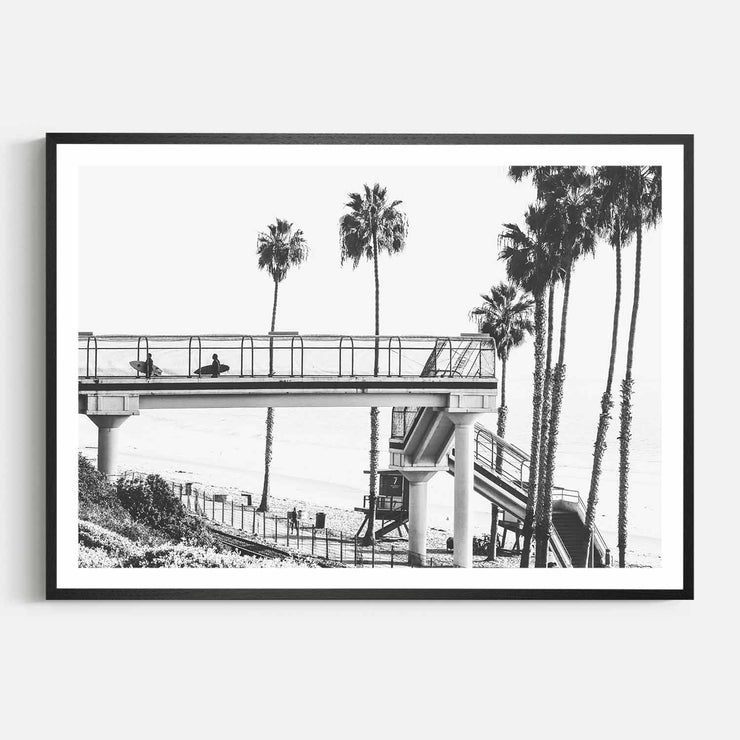 Print Workshop, Framed Print, Cali Surf Beach, Natural Oak Box Frame, Black Coating with White Border