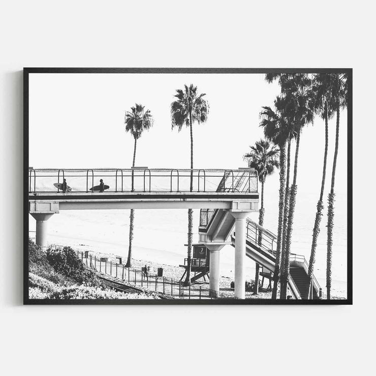 Print Workshop, Framed Print, Cali Surf Beach, Natural Oak Box Frame, Black Coating, No White Border