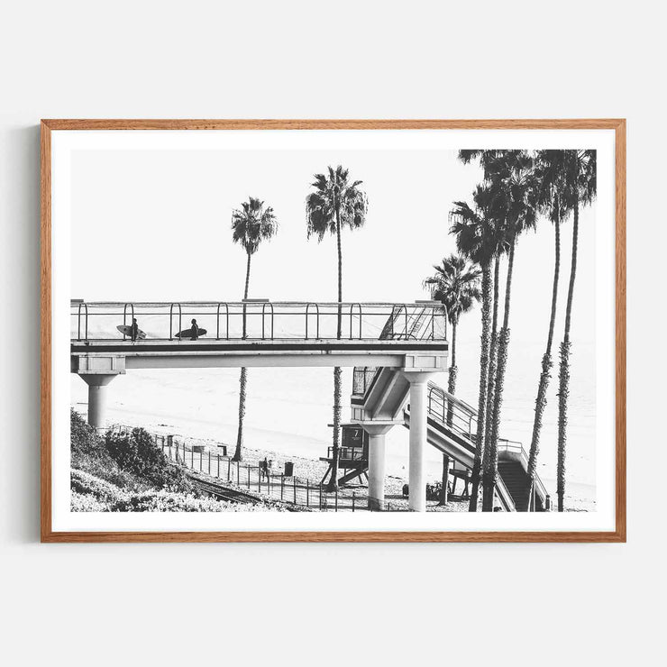Print Workshop, Framed Print, Cali Surf Beach, Natural Oak Box Frame, Chestnut Stain with White Border
