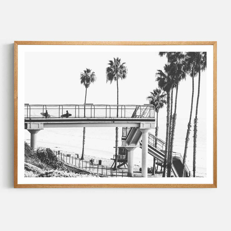 Print Workshop, Framed Print, Cali Surf Beach, Natural Oak Box Frame, Light Oak Stain with White Border