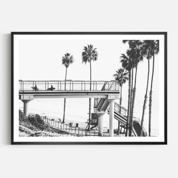 Print Workshop, Framed Print, Cali Surf Beach, Box Frame, Black Smooth Coating with White Border