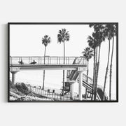Print Workshop, Framed Print, Cali Surf Beach, Box Frame, Black Smooth Coating, No White Border