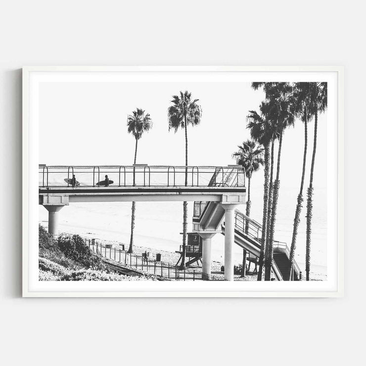 Print Workshop, Framed Print, Cali Surf Beach, Box Frame, White Smooth Coating with White Border