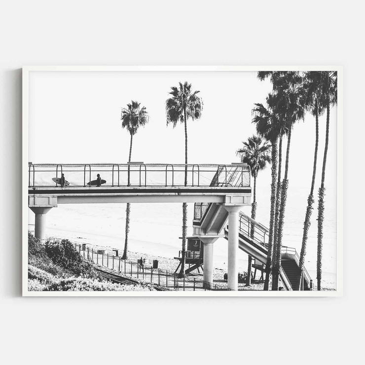 Print Workshop, Framed Print, Cali Surf Beach, Box Frame, White Smooth Coating, No White Border