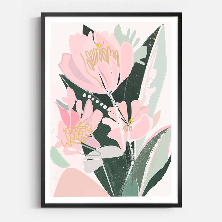 Print Workshop, Framed Print, Sweet Peonies, Box Frame, Black Smooth Coating with White Border