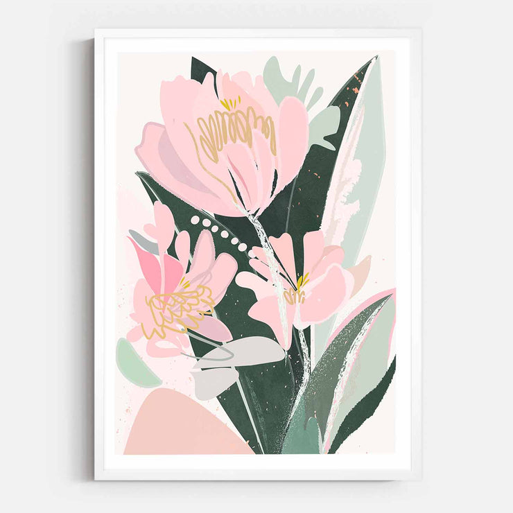 Print Workshop, Framed Print, Sweet Peonies, Box Frame, White Smooth Coating with White Border