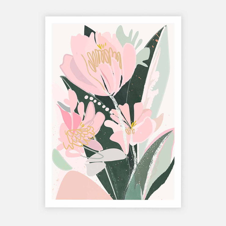 Print Workshop, Sweet Peonies, Print Only No Frame with White Border