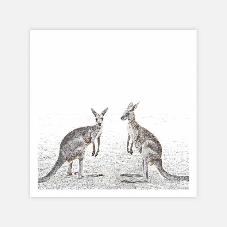 Print Workshop, Two Beach Kangaroos, Print Only (Square Size) No Frame with White Border