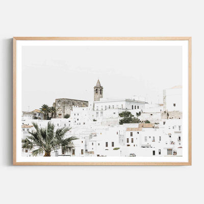 Print Workshop, Framed Print, Vejer de la Fontera, Natural Australian Oak Box Frame with White Border