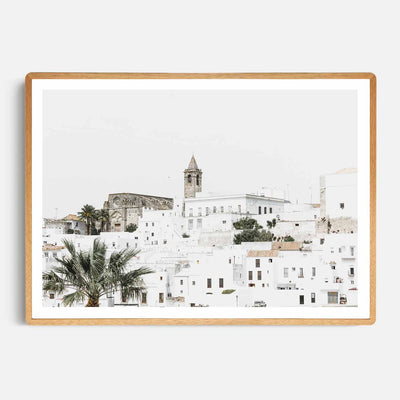 Print Workshop, Framed Print, Vejer de la Fontera, Rounded Corner Natural Oak Box Frame, Light Oak Stain with White Border