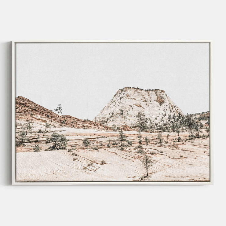 Print Workshop, Canvas Print, Beige Mountainscape, Floating Frame, White Smooth Coating