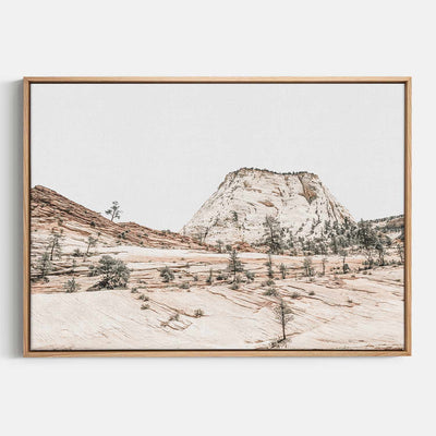 Print Workshop, Canvas Print, Beige Mountainscape, Natural Australian Oak Floating Frame