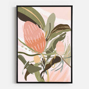 Print Workshop, Canvas Print, Banksia Lust, Natural Oak Floating Frame, Black Coating