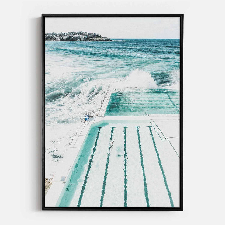 Print Workshop, Canvas Print, Bondi Beach Pool, Natural Oak Floating Frame, Black Coating