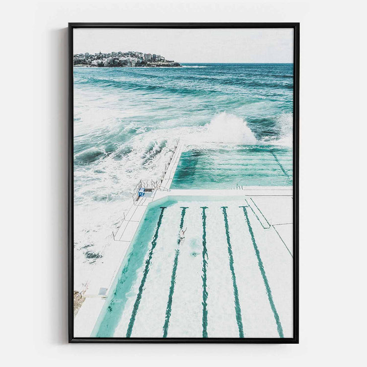 Print Workshop, Canvas Print, Bondi Beach Pool, Floating Frame, Black Smooth Coating