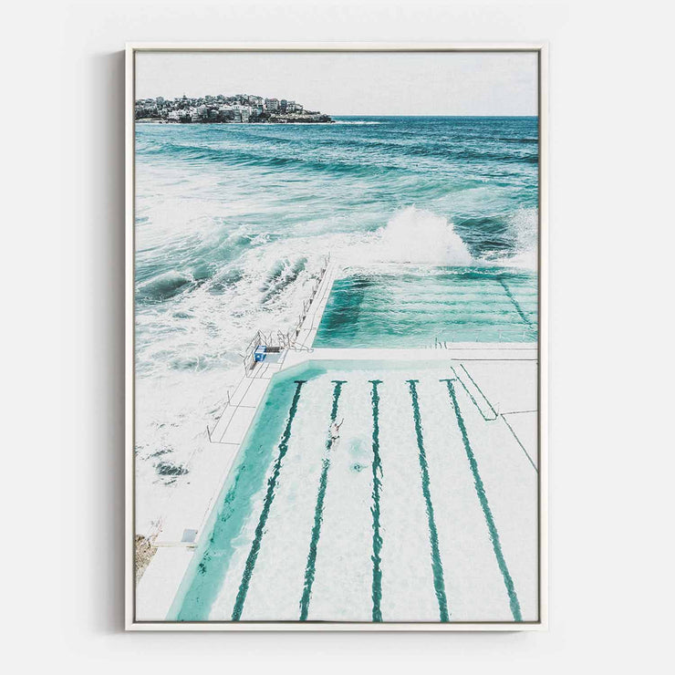 Print Workshop, Canvas Print, Bondi Beach Pool, Floating Frame, White Smooth Coating