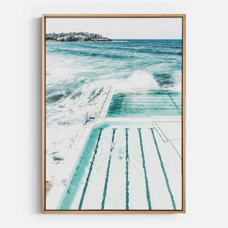 Print Workshop, Canvas Print, Bondi Beach Pool, Natural Australian Oak Floating Frame