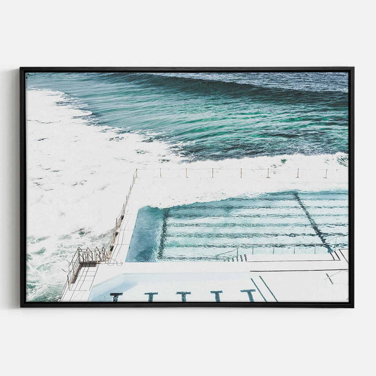 Print Workshop, Canvas Print, Bondi Icebergs, Natural Oak Floating Frame, Black Coating