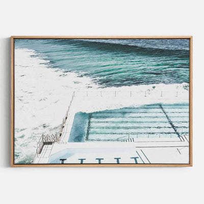 Print Workshop, Canvas Print, Bondi Icebergs, Natural Australian Oak Floating Frame