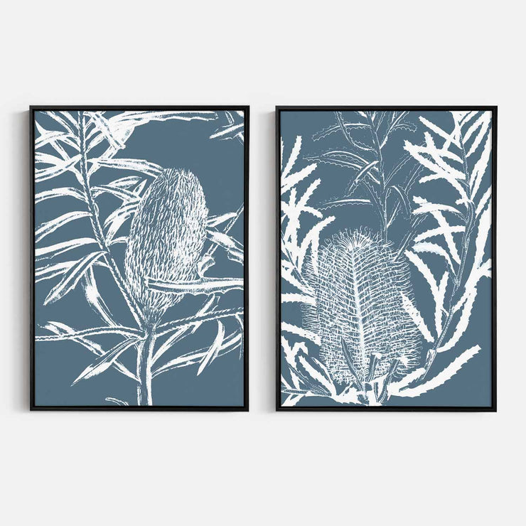 Print Workshop, Canvas Print, Botanica Banksia 1 & 2, Natural Oak Floating Frame, Black Coating