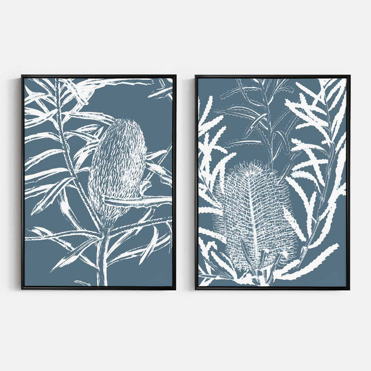 Print Workshop, Canvas Print, Botanica Banksia 1 & 2, Floating Frame, Black Smooth Coating