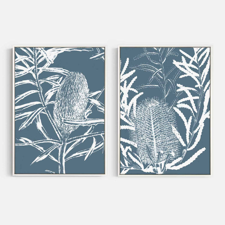 Print Workshop, Canvas Print, Botanica Banksia 1 & 2, Floating Frame, White Smooth Coating