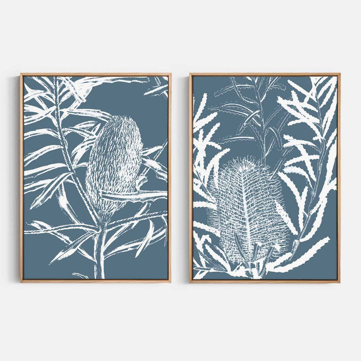 Print Workshop, Canvas Print, Botanica Banksia 1 & 2, Natural Australian Oak Floating Frame