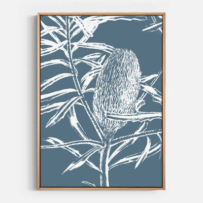 Print Workshop, Canvas Print, Botanica Banksia 1, Natural Australian Oak Floating Frame