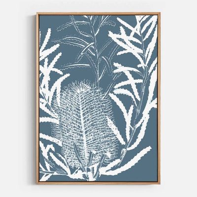 Print Workshop, Canvas Print, Botanica Banksia 2, Natural Australian Oak Floating Frame