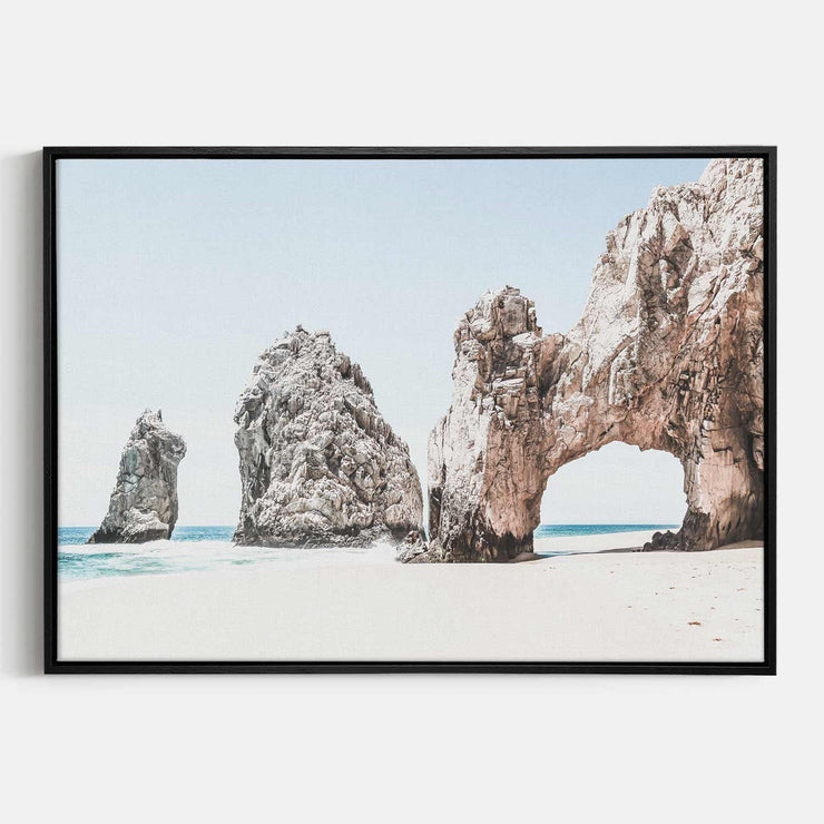 Print Workshop, Canvas Print, Cabo San Lucas, Natural Oak Floating Frame, Black Coating